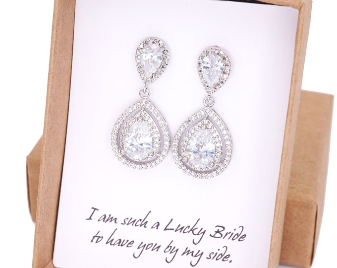 Deluxe Cubic Zirconia Halo style Teardrop dangle Earrings, Silver Bridal Cubic Zirconia earrings, Classic Hollywood