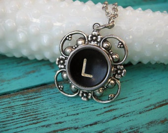 Typewriter Key Necklace Letter L