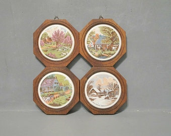 Vintage Currier & Ives Ceramic Tile Wall Hanging Set of 4 Four Seasons Litho Art Print / Old Wood Small Rustic Wooden Plaque Farmhouse Decor
