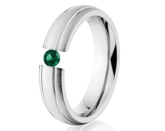 Tension Set Ring, Uniquley You, 6mm,  Titanium Ring, Emerald, 6HR2G-XB-Tension