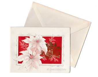 Christmas Card Vintage 1950's White Poinsettia Greeting with Envelope An Artistic Card