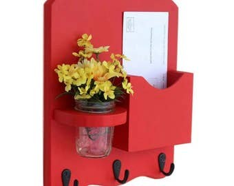 Mail Organizer - Mail and Key Holder - Letter Holder - Key Hooks- Jar Vase - Organizer