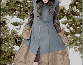 Jacket - Steampunk - Hooded Coat - Boho Bohemian - Gypsy - Pixie - Burning Man - Princess A line - Boiled Wool - Turquoise - Size Small