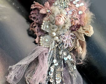 Demure posy brooch - ethereal bold ornate brooch ,  embroidered and beaded brooch, mixed media
