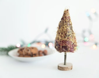 Miniature  Christmas tree  Fir tree Gold Tree  Gold Christmas topiary  Alternative Christmas tree Small Christmas tree