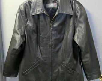 Vintage Leather Jacket, Wilsons Leather, Zip Up Front Mens Size L, soft Black Leather Jacket,  Leather Coat, Boyfriend Jacket, Hipster coat