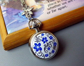 "Pocket Watch Necklace, 18th Century Forget-Me-Not Flower Locket Necklace, 20-32"" Silver Chain, Antique Style Jewelry"