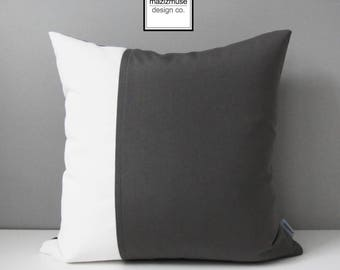 Grey & White Outdoor Pillow Cover, Decorative Color Block Pillow Cover, Modern Gray and White Sunbrella Cushion Cover, Mazizmuse