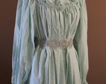 Bliue Cotton Full Length Chemise  Renaissance Costume Dress Chemise Medieval Peasant Shirt
