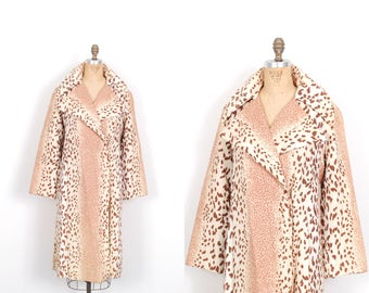 Vintage 1960s Jacket / 60s Leopard Print Spring Trench Coat / Brown and Cream ( medium M )