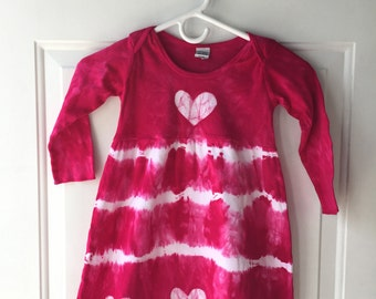 Pink Girls Dress, Girls Heart Dress, Girls Tie Dye Dress, Pink Hearts Dress, Girls Easter Dress, Pink Easter Dress, Long Sleeve Dress (4T)