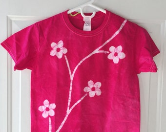 Girls Flower Shirt, Flower Girls Shirt, Kids Flower Shirt, Pink Flowers Shirt, Batik Kids Shirt, Hot Pink Girls Shirt (Youth S)