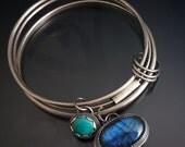 sterling silver turquoise labradorite gemstone bangle - boho gem bangle - silver bangle - chunky - boho jewelry - turquoise bangle - gypsy