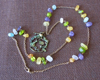 Alice in Wonderland Necklace Green Yellow Purple