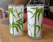 Vintage Set of 2 Georges Briard Green and White Bamboo Barware Drinkware Mid-century Modern Glasses