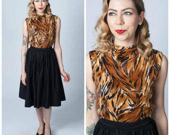 Vintage 1950's Animal Print Sleeveless Blouse/ 50's Bad Girl Top Size Small/ Medium