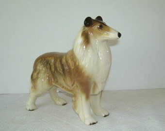 Vintage Ceramic Coopercraft Collie Dog, Made in England, English Art, Collie Figurine, Original Coopercraft Sticker, Dog Lovers, Collie