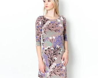 Shift Dress - Hand Printed - Organic Cotton - Summer Wedding -Slow Fashion - Eco Fashion -Dusty Rose Wandering Floral - Thief and Bandit®