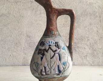 """Vintage 10"""" tall ewer hand painted from Italy, Cocchi ceramic vase, Italian celadon pitcher, decorative art pottery Old World bohemian decor"""