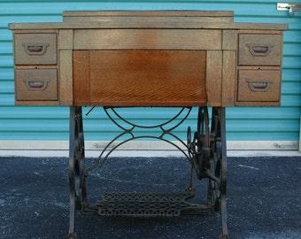 ANTIQUE Treadle sewing machine cabinet & MORE