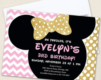 Gold Minnie Mouse Birthday Invitations - Professionally printed *or* DIY printable