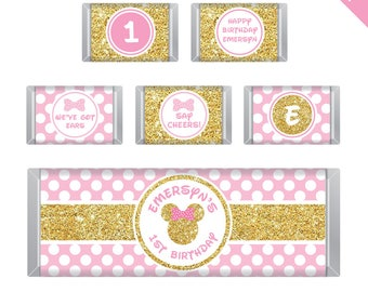 Gold Minnie Mouse Party - Personalized DIY printable Hershey bar labels