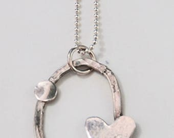 SALE // Sterling silver Oval Pendant with Heart and Dot ~ Shiny ~ on sterling silver // Best Selling Item at Farmers Market