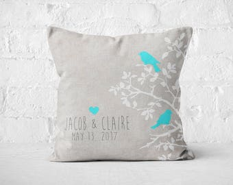 Cotton Anniversary Gift Personalized Gift Pillow Cover Turquoise LOVE BIRDS Wedding Pillow Cotton Anniversary Gift