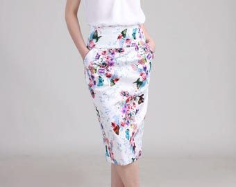 High Waist Pencil Skirt with Pocket, Floral White Skirt, Tailored  Skirt, Bridemaids Skirt, Spring Skirt -  Butterfly with Flower