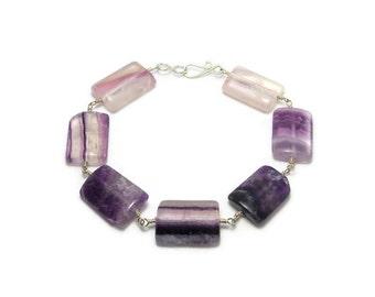 Rainbow Flourite Argentium Sterling Silver Chunky Bracelet Purple
