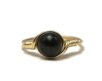 15% OFF SALE Shungite 14k Yellow Gold Fill Wire Wrapped Ring Custom Sized