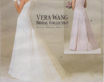 Bridal Collection Sewing Pattern By Vera Wang / Vogue 2118 / Wedding Gown Dress / Sizes 6 8 10