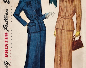 Simplicity 3107 / Vintage 50s Half Size Sewing Pattern / Skirt Jacket Suit  / Bust 35
