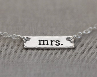 Dainty Mrs Necklace, Sterling Silver Bar Bridal Jewelry, Bride to Be, Engagement or Bridal Shower Gift, Hand Stamped