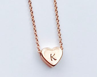 Dainty, Rose Gold Heart Necklace - Hand Stamped Initial Necklace - Rose Gold Filled - Bridesmaids Gift, Graduation Gift, Mother's Day Gift