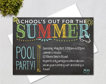 Pool Party Invitation/ End of Year Party / School's Out for the Summer / PRINTABLE INVITATION / #42859