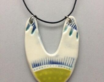 Ceramic Statement Pendant, Ceramic Pendant, Porcelain Pendant, Modern Necklace, Gift for Her