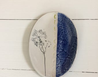 Ceramic Soap Dish, Ceramic Dish, Oval Dish with Queen Ann's Lace Imprint, Home Decor Gift, Gift Under 20
