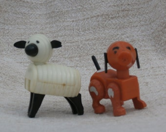 Fisher Price Little People Sheep and Brown Dog, Vintage Farm Animals, Hong Kong Made