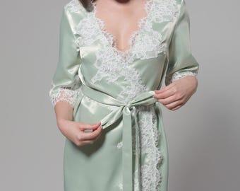 Bridal Robe, Lace Robe, Lace Bridal Robe, Wedding robes , Bridesmaid Robes, Boudoir Robe, Silk Robe, Agatha Robe