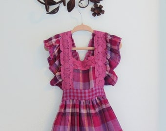 Little Girls Plaid Purple Pinafore Dress -OOAK