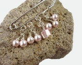 Pink Beaded Shawl Pin - Scarf Pin - Sweater Pin - Pink Pearl Beaded Brooch
