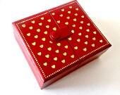 Red Heart Ring Box, Vintage Folding Ring Box, Red Gold Heart Jewelry Box, Mini Heart Ring Box, Ring Storage, Ring Keeper, Travel Size Box