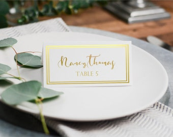 REAL Gold Foil Table Place Cards, Name Card, Fold-Over Name Cards,Name Place Cards