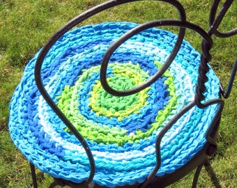 "rag rug chair pads Set of 2 round, crochet ""braided"" chairpads, boho chic, shabby chic, at home on the porch #55"
