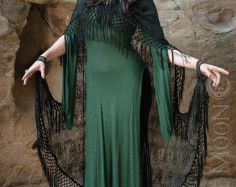 """Specialty: The """"Morticia"""" Hooded Black Lace Cape with Long Fringe Trim by Opal Moon Designs (One Size)"""