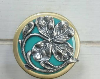 Victorian antique style Pill Case,four leaf clover Pill Box, Pill Holder.