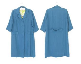 60s Jacket * Vintage 1960s Mod Coat * Blue Silk Jacket * Large