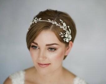 Wedding headband, crystal headband, statement headband, tiara headband, Swarovski headband, flower headband, floral headband - Eleanora