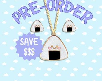 PREORDER Kawaii Onigiri Rice Ball Jewelry - Hard Enamel with Glitter Earrings Pendant
